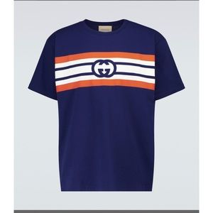 Gucci interlocking G stripe print T-shirt darkblue